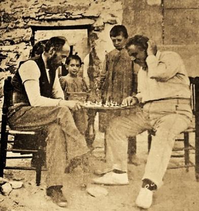 Cajal y el Dr. Olóriz. Miraflores de la Sierra, Madrid, 1898